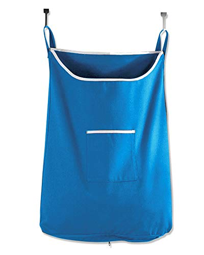 Space Saving Door Hanging Laundry Hamper Bag in Sky Blue with Free Door Hooks - Open Top Design to Hold More Laundry Than Other Type Bags - Tested to be Strong and Durable - by The Fine Living Co USA (Hamper Back Of Door Laundry)