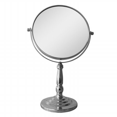 Freestanding Magnifying Makeup Mirror, Round, Contemporary,