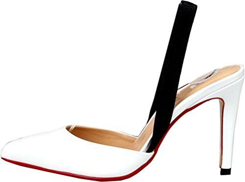 Abby A57 Kvinna Spetsig Tå Sele Tillbaka Party Bröllop Brud Brudtärna Nattklubb Klädöversida Stilett Slide Pu Pumpar Sandals Vita