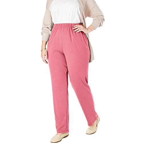 Woman Within Women's Plus Size Petite 7-Day Knit Straight Leg Pant - Rose Mauve, 1X ()