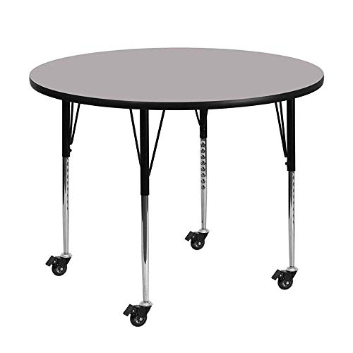 Flash Furniture Mobile 48'' Round Grey Thermal Laminate Activity Table - Standard Height Adjustable Legs