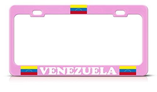 Moon Venezuela Flag Heavy Duty Steel Soft Pink License Plate Frame Tag Border Perfect for Men Women Car garadge Decor