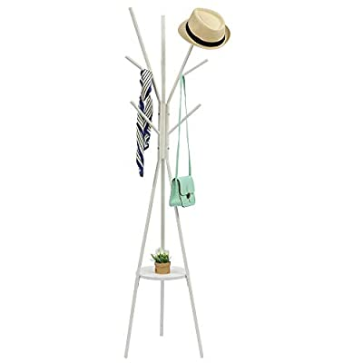 Home-Like Metal Coat Rack Hat Hanger Holder Hall Tree Hallstand Garment Rack Clothing Rack Tree Stand Suit for Bedroom Office Hallway Entryway (White) - ◆Space-Saving Hall Tree: It is easy to put it in a narrow room with a width of 45 cm, keeping your daily accessories reachable and well organized. The coat rack can effectively use limited space such as the corner of the room and the space of furniture and the space of the entrance and the closet. The height of the hanger bar is different, so you can put the position you like. ◆Multiple Standing Coat Stand: 9 hooks divided into 3 tiers give ample amount of hanging options for your clothes.You can hang your hats, bags, scarf or any other garment that fits. The round wood MDF board can put shoes, storage boxes, plants and so on. It can make the most use of space in your living rooms or bedrooms. This rack can be used in home or office, hallway, living room or bedroom ◆High-Quality Metal Coat Rack - Made of high quality 38mm power-coated thickened metal tube, this coat rack is rustproof and durable. Its maximum weight capacity is 25 kg (the hooks can hold 5kg each and the 15mm round wood board an hold 5 kg) - entryway-furniture-decor, entryway-laundry-room, coat-racks - 31xtbpmgH2L. SS400  -