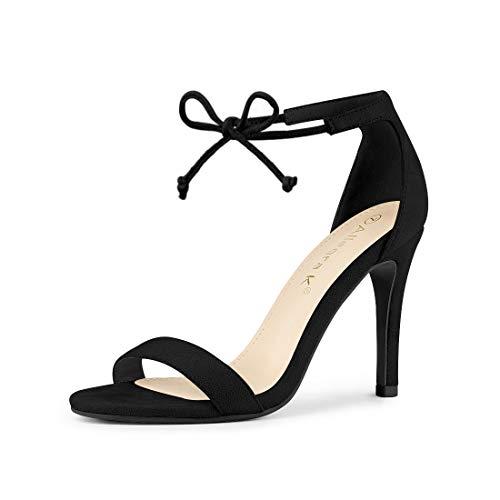 Allegra K Women's Ankle Strap Tie Up Black Stiletto Heel Dress Sandals - 6 M US (Size 6 Strap Black Heels)