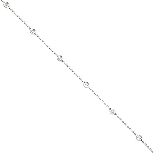 ICE CARATS 14k White Gold Diamond Rolo Anklet For Women Ankle Beach Chain Bracelet