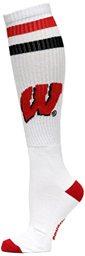 NCAA Wisconsin Badgers White Tube Socks, One Size, Red by Donegal Bay
