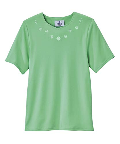 (Silvert's Adaptive Cotton T-Shirt for Women - Home Care Apparel - Back - Spearmint MED)