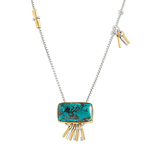 Pendant Turquoise Brass - Silpada 'Turquoise Burst' 1 7/8 ct Compressed Turquoise Pendant Necklace in Sterling Silver & Brass