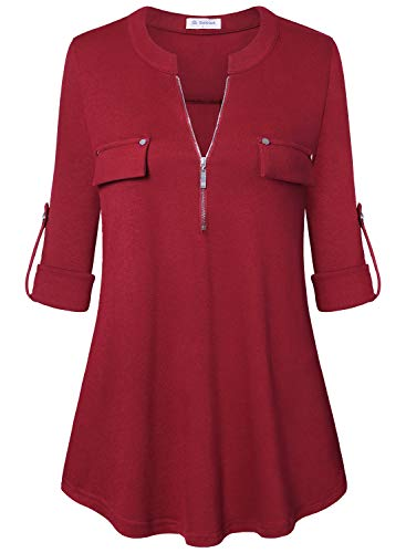 (Bulotus Ladies Roll Sleeve Zipper Up Stretch Jersey Knit Red Tops for Women,Red,Small)