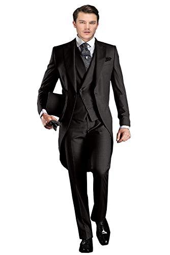 Men's Classic 3 Pieces Tux Suit One Button Regular Fit Long Tail Tuxedos(Black,54R) ()