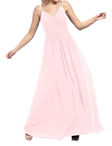 JAEDEN Bridesmaid Dress Long Bridesmaid Gown Chiffon Prom Dresses Pleat Formal Evening Gowns for Party Blushing Pink