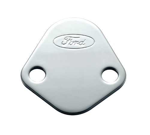 Proform 302-290 Chrome Fuel Pump Block-Off Plate with Embossed Ford Logo for Ford 289-351 Windsor/352-428 FE Series/429/460