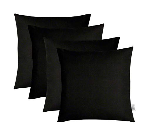 RSH Décor Set of 4 Indoor/Outdoor Square Throw Pillows Sunbrella Canvas Black (24