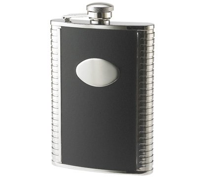 (Aeropen International FK-1208 8oz. Black Leather Bonded with Ribbed Sides and Oval Convex Stainless Steel Flask)