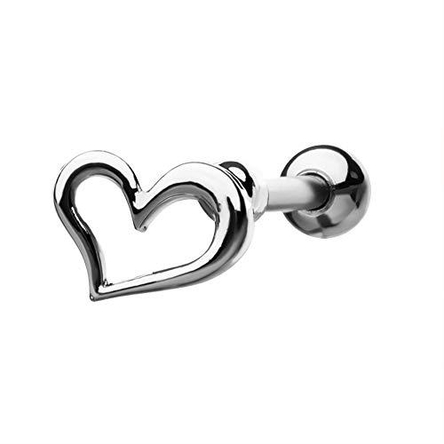 Flat Open Heart Earring - Jewseen 16G Heart Stud Cartilage Flat Earrings 316L Stainless Steel Helix Tragus Rings Body Piercings Jewelry