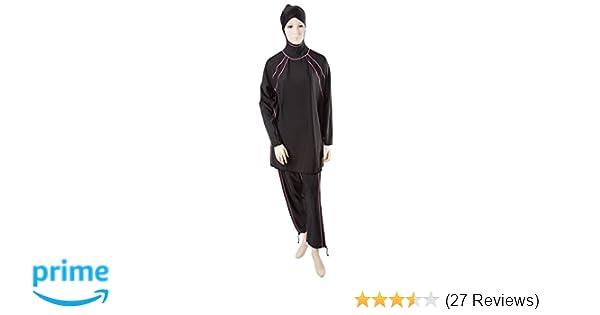 19cfcc7452 Amazon.com   Al-Sharifa Women s Swimsuit - Islamic Swimwear S Black pink  (Riviera)   Dive Skins   Sports   Outdoors