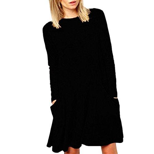 Kingko® Femmes Grande Poche Hiver Style Simple À L'intérieur Prendre Robes Monoblocs Printemps Automne Manches Longues Occasionnels Col Rond Volants Taille Mini Robe 10-18 Noir