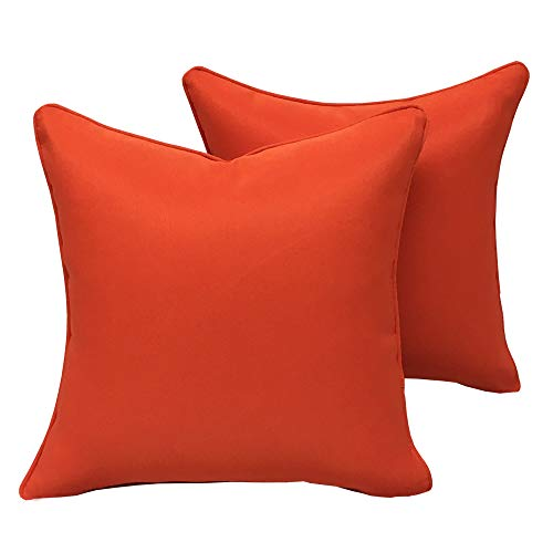 Vanteriam 2 Pack Decorative Outdoor Solid Waterproof Throw Pillow Cover with Piping, Accent Pillow case for Outdoor Patio Furniture Set, Square 18''x18'' Orange ()