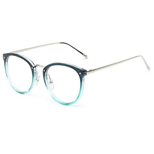 AISSWZBER Vintage Round Women Eyewear Metal Optical Frame Clear Non-prescription Eyeglasses