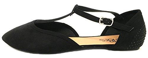 Schoenen8teen Schoenen 18 Dames Faux Suede Strass Ballerinas Ballerinas Schoenen 5103a Zwart