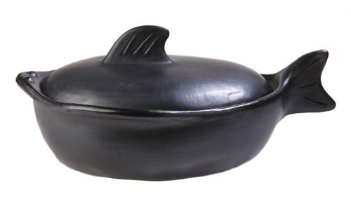 La Chamba Black Clay Fish Roaster, Large (4 Qt)
