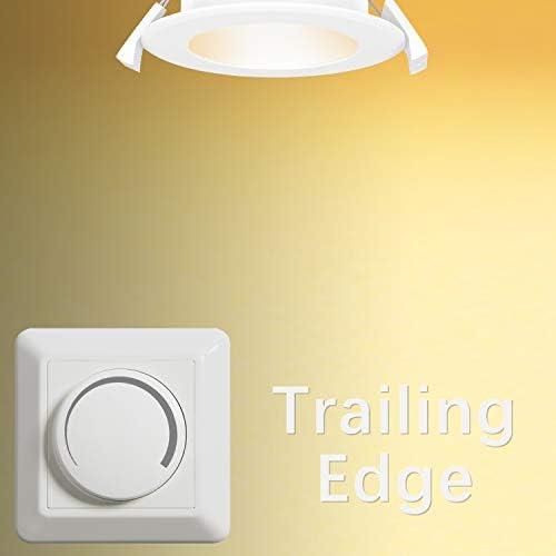 Dimmbare 8W LED Einbau Flache Deckenleuchte Einbaustrahler Ohne Trafo IP44 Warmweiß und Kaltweiß Einstellbar Lochdurchmesser 70-85MM 6er Lampen von Enuotek