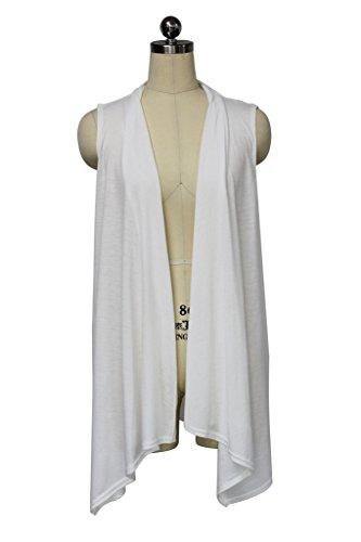 Knit Long Vest - White Cloud Women's Sleeveless Open Plain Knit Cardigan Waistcoat Vest Medium White