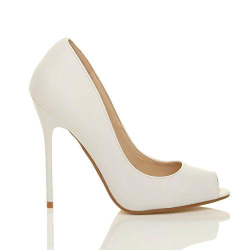 Ajvani Zapatos de tacón para mujer, puntera abierta estilo peep toe Blanco - White Matte