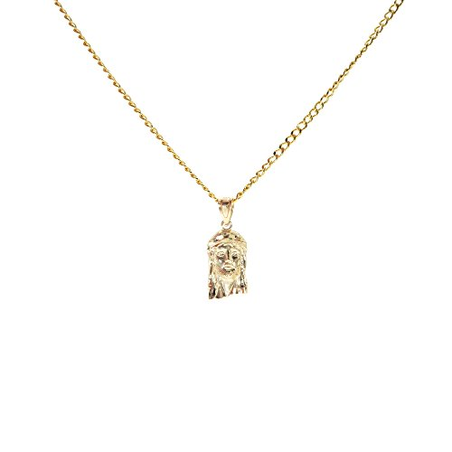 Genuine Stamped 10K Yellow Gold Cuban Curb Link Chain Small Charm Pendant Necklace [ASSORTED SETS] (Jesus Piece + 18 Inches Necklace) by Traxnyc