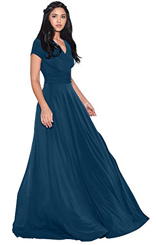 KOH KOH Womens Long Cap Short Sleeve V-Neck Flowy Cocktail Slimming Summer Sexy Casual Formal Sun Sundress Work Cute Gown Gowns Maxi Dress Dresses, Blue Teal 4XL 26-28