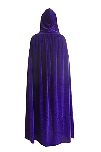SENSERISE Unisex Halloween Velvet Hooded Cloak Costumes Party Cosplay Capes (Purple,XL) (Velvet Purple Cloak)