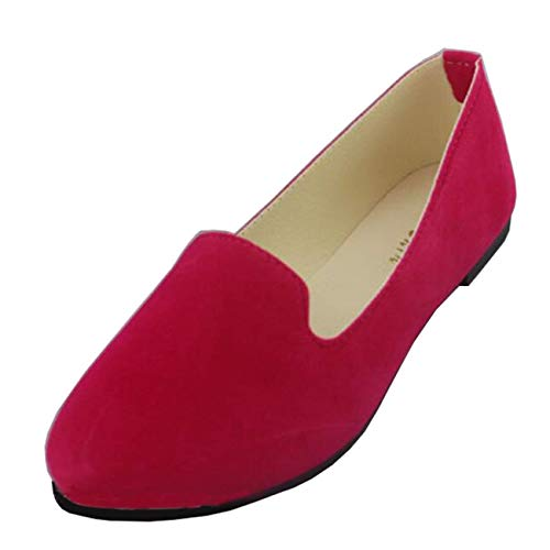 Punta 2 Moontang colore Piatta Scamosciata Da Flat on In A Uk Ballerine Shoe Donna Slip Rose Pelle Dimensione wxpRqUzwa