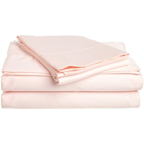 Tuscany Fine Italian Linens Milange 300 Thread Count Egyptian Cotton Sateen Queen Sheet Set Light Pink