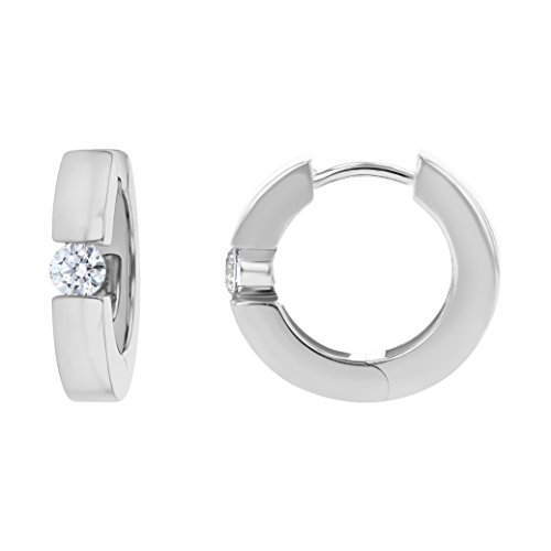 Olivia Paris 14k White Gold Solitaire Huggie Earrings (1/4 cttw, H-I Color, I1 Clarity) .55