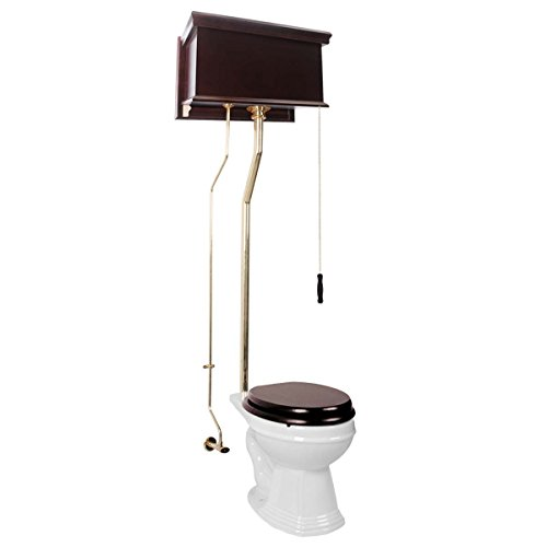 Dark Oak Flat Panel High Tank Toilet Round White China Bowl Brass -