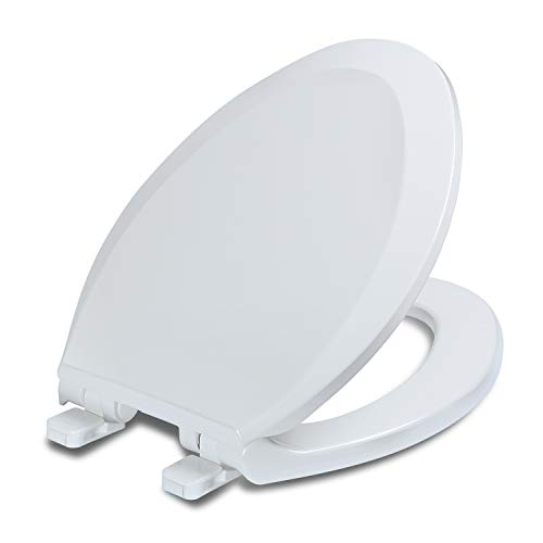 Elongated Toilet Seats with Lid, Quiet Close, Fits Standard Elongated or Oblong Toilets, Slow Close Seat and Cover, Oval, White