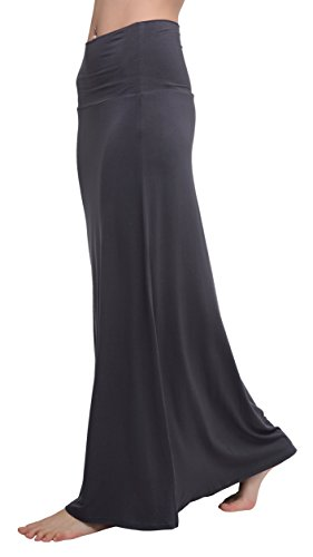 Urban CoCo Women's Stylish Spandex Comfy Fold-Over Flare Long Maxi Skirt (M, Dark Shadow)