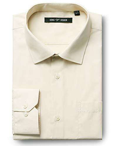 Ivory Mens Shirt - Verno Luxton MensFashion(Regular) Fit Long Sleeve Dress Shirt, 17-17 1/2