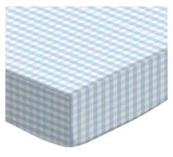 Blue Gingham Crib Bedding - SheetWorld Fitted Sheet (Fits BabyBjorn Travel Crib Light) - Blue Gingham Jersey Knit - Made In USA
