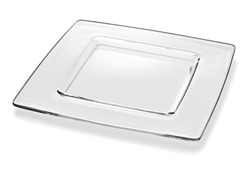 (Barski - European Glass - Square - Clear - Charger - Plate - 13
