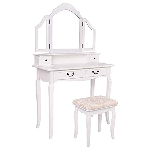 HTH Store White Tri Folding Mirror Vanity Makeup Cosmetic Table Stool Set Home Desk with 4 Drawers Tabletop Simplistic Queen Anne Style Legs
