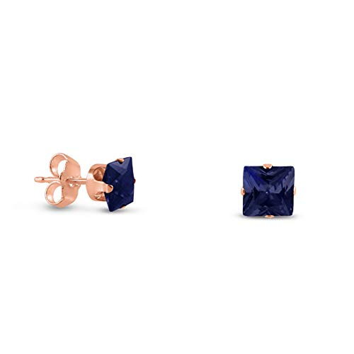 (Crookston Rose Gold Plated Sterling Silver Square Cut Created Sapphire Earrings - 2-10mm | Model ERRNGS - 14654 | 3mm - Small)