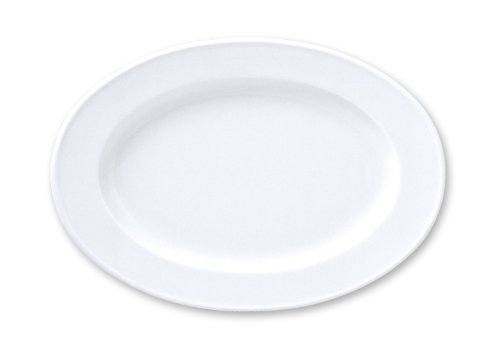 Turgla Gural Porcelain Delta Rim Oval Platter (6 Pack), 13-3/8 by 9-1/2'', Bright White