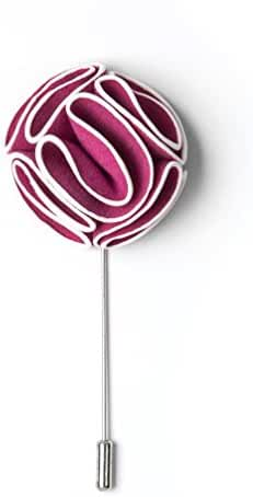 Fuchsia Piped Flower Fuchsia Velvet Lapel Pin
