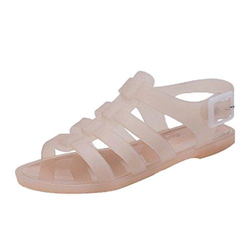 Tefamore Mujer Zapatos de la jalea de las sandalias de las mujeres de deslizamiento plana playa de arena de plástico botas de lluvia de verano Rosado