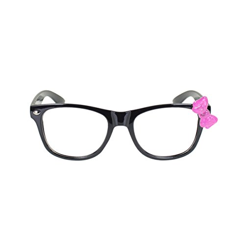 Kids Cute Kitty Cat Bow Clear Lens Glasses Age 3-12, Black / Purple - Glasses Cute Girls For