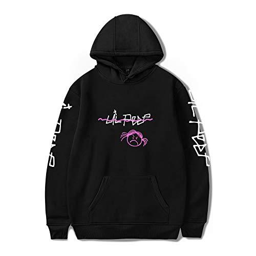 Fashion Print Rap Long Sleeve Lil peep Hoodie Jacket Pullover Plus Bonus Lil Peep Sweatshirt (Black2, L)