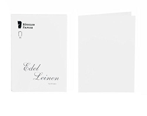 Rössler 2160705002 A6 Linen Embossed Flat Card - White (Pack of ()