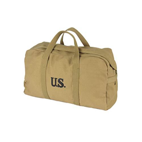 Oleader Replica WW2 US Parachute Cargo Bag Army Style Handbag Jeep Bag Travel Canvas Bag 20L,Khaki