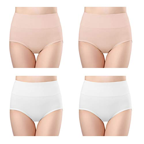wirarpa Womens High Waisted Cotton Underwear Full Brief Panties Ladies No Ride Up Underpants 4 Pack Beige White Size 10, XXX-Large